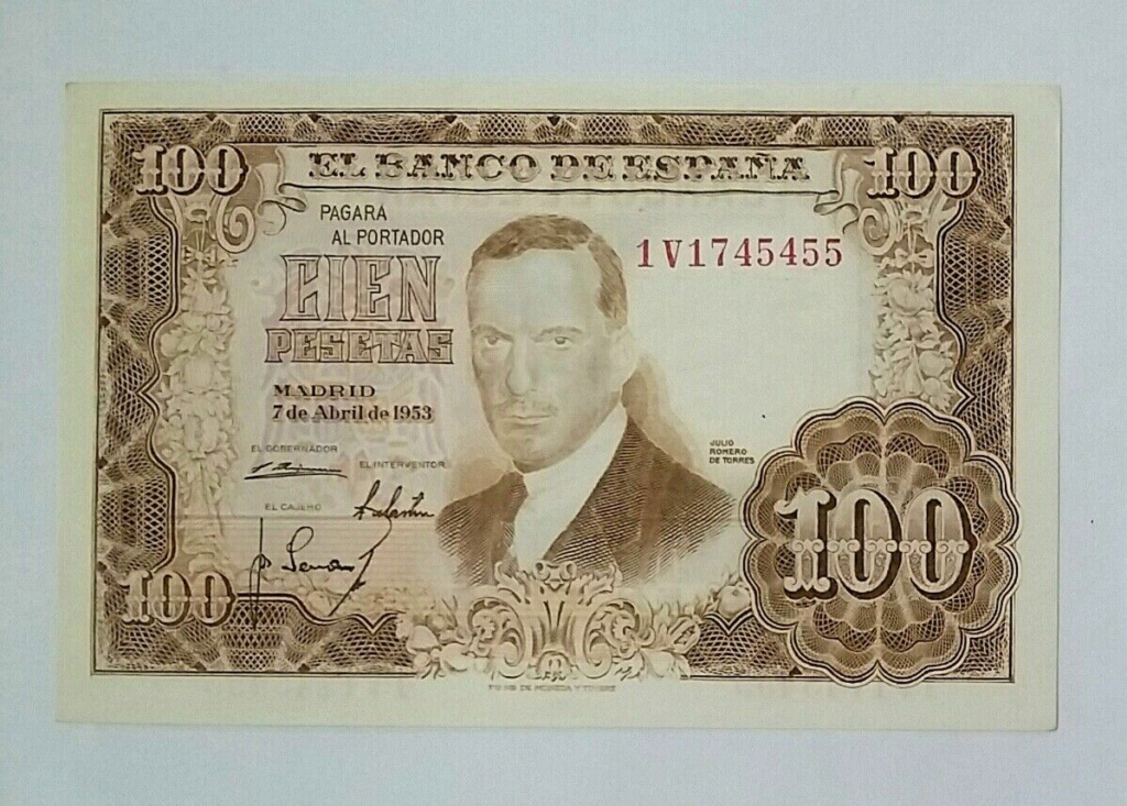 Investigación - Billetes de 100 pts 1953 Romero de Torres 1v10