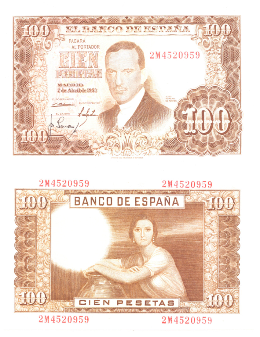 Investigación - Billetes de 100 pts 1953 Romero de Torres 2m10