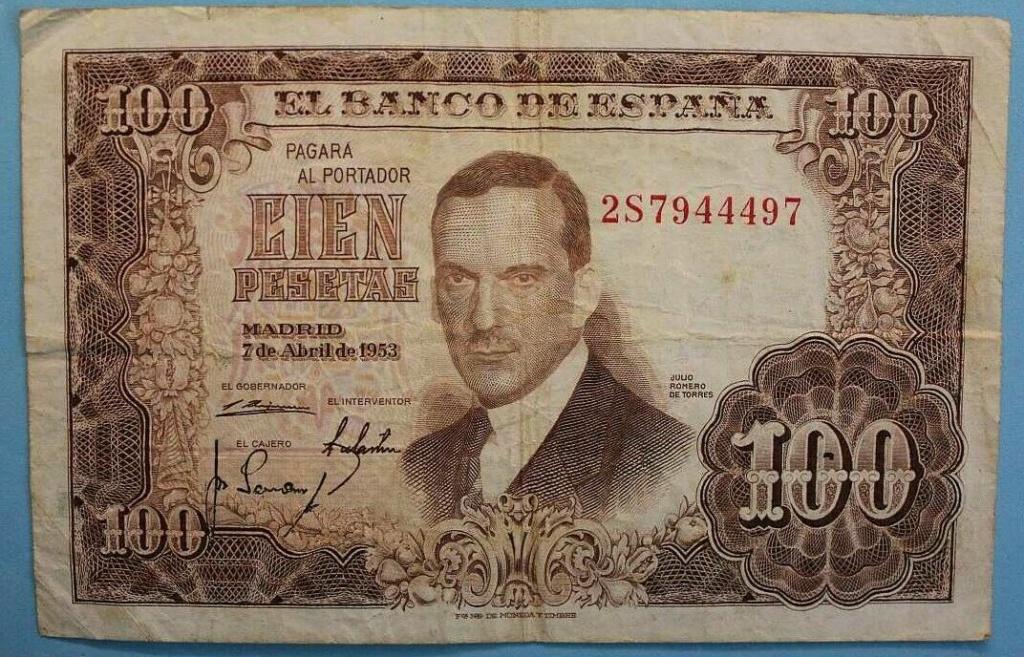 Investigación - Billetes de 100 pts 1953 Romero de Torres 2s10