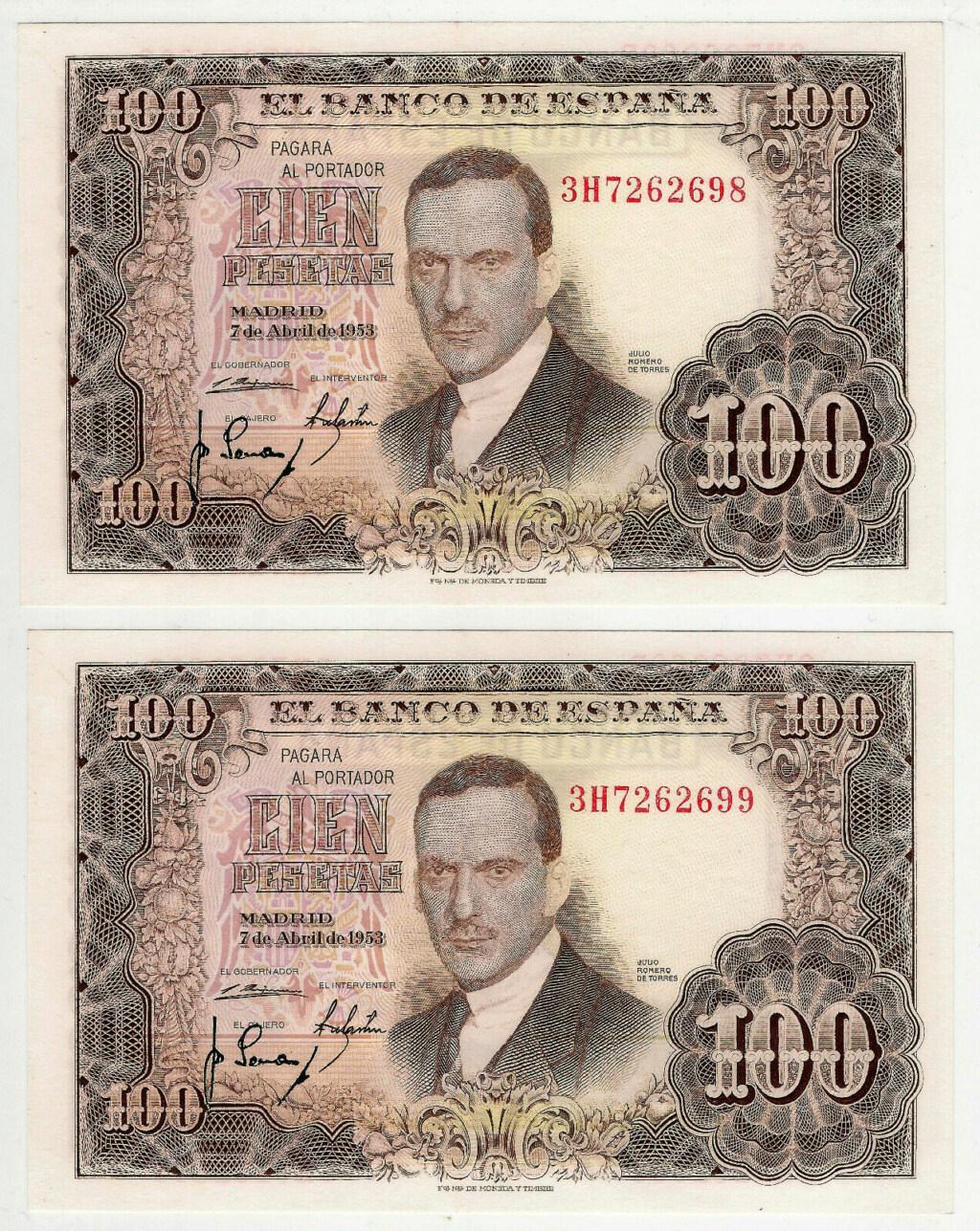 Investigación - Billetes de 100 pts 1953 Romero de Torres 3h10