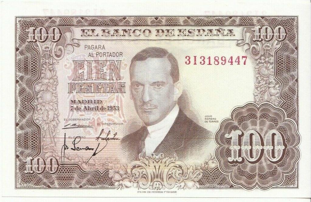Investigación - Billetes de 100 pts 1953 Romero de Torres 3i10