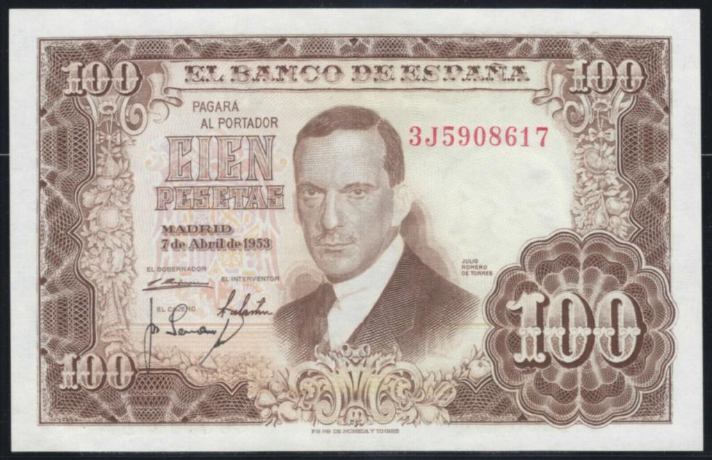 Investigación - Billetes de 100 pts 1953 Romero de Torres 3j10