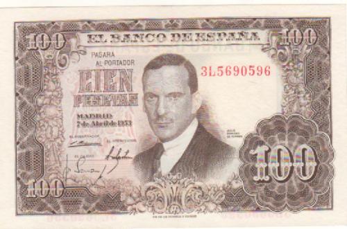 Investigación - Billetes de 100 pts 1953 Romero de Torres 3l10