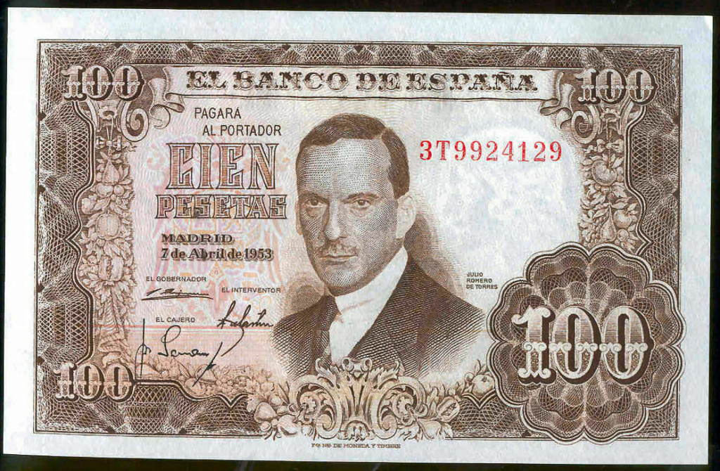 Investigación - Billetes de 100 pts 1953 Romero de Torres 3t10