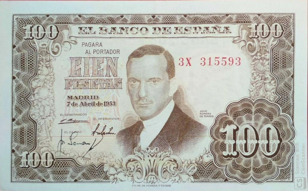 Investigación - Billetes de 100 pts 1953 Romero de Torres 3x10