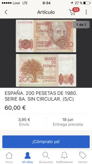 Número más bajo/alto de... 200 pesetas 1980 Serie 8 y 9 8a_310