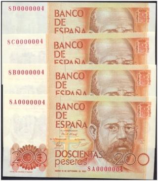 Número más bajo/alto de... 200 pesetas 1980 Serie 8 y 9 8a_8b_10