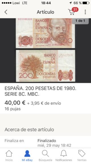 Número más bajo/alto de... 200 pesetas 1980 Serie 8 y 9 8c10