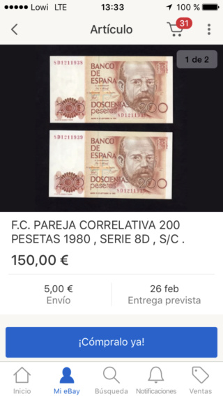 Número más bajo/alto de... 200 pesetas 1980 Serie 8 y 9 8d_210
