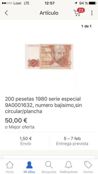 Número más bajo/alto de... 200 pesetas 1980 Serie 8 y 9 9a_410