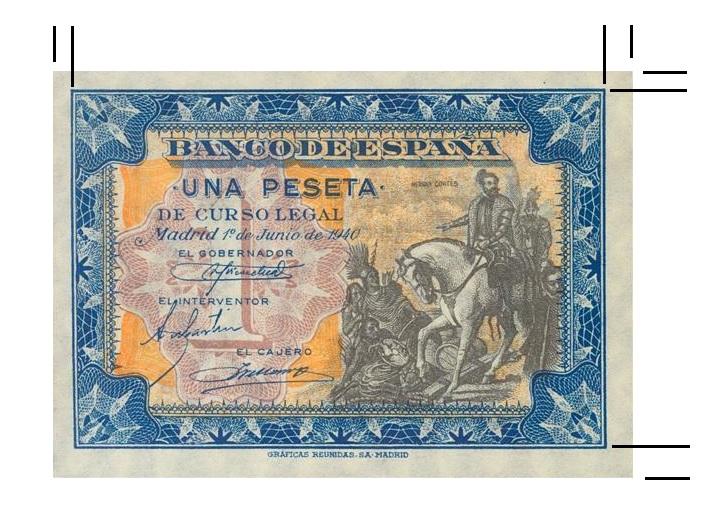 1 Peseta 1940 - Hernán Cortés - Dimensiones Billet10