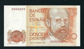 Número más bajo/alto de... 200 pesetas 1980 Serie 8 y 9 Fc110