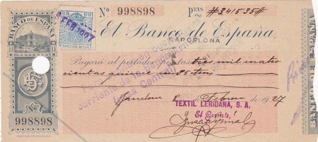 Banco de España - Cheque 1927 Img_2033