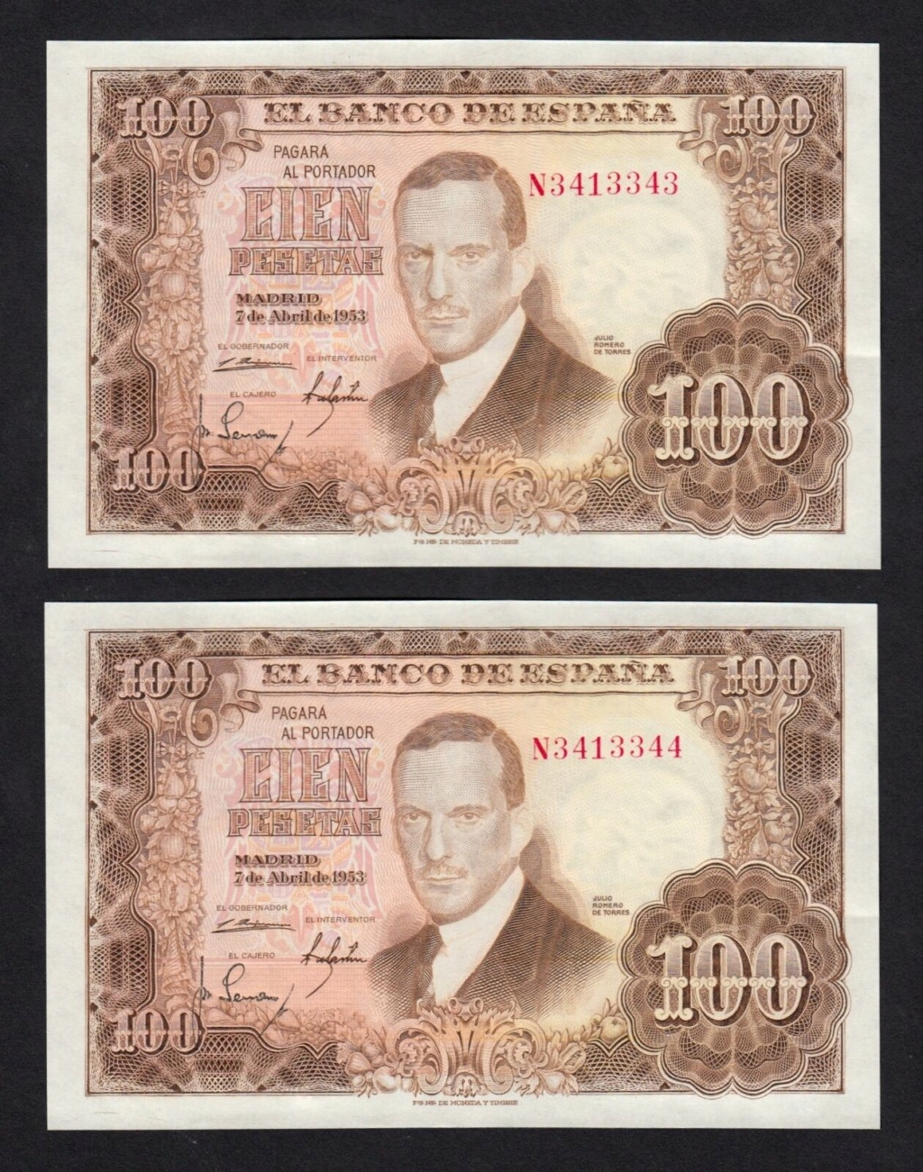Investigación - Billetes de 100 pts 1953 Romero de Torres N10