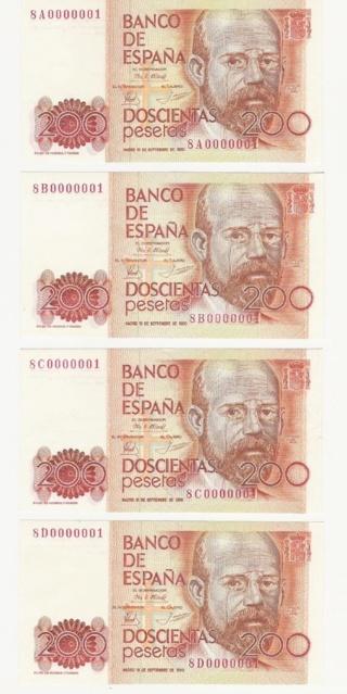 Número más bajo/alto de... 200 pesetas 1980 Serie 8 y 9 Nu311210
