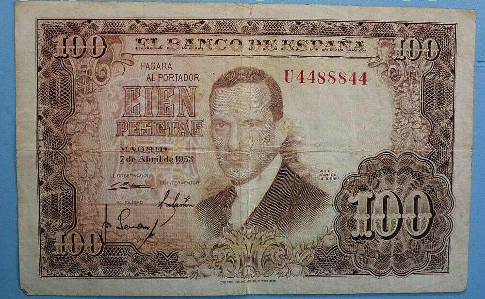 Investigación - Billetes de 100 pts 1953 Romero de Torres U10