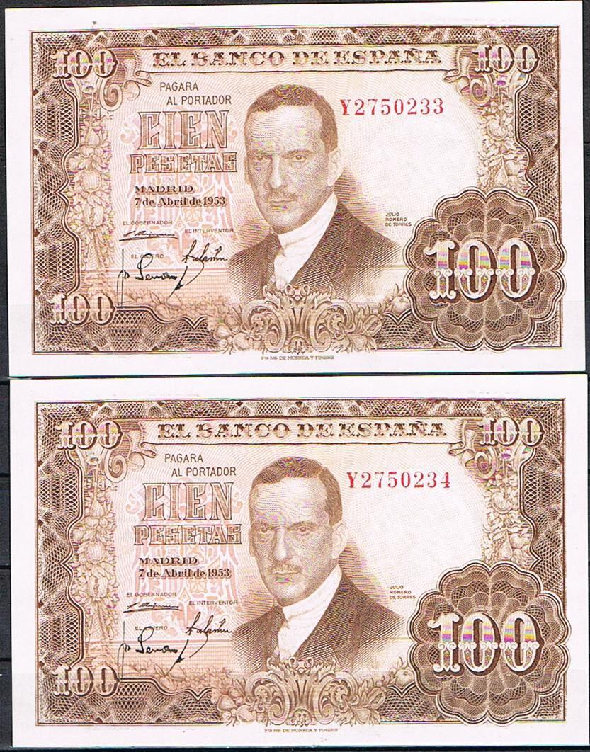 Investigación - Billetes de 100 pts 1953 Romero de Torres Y10