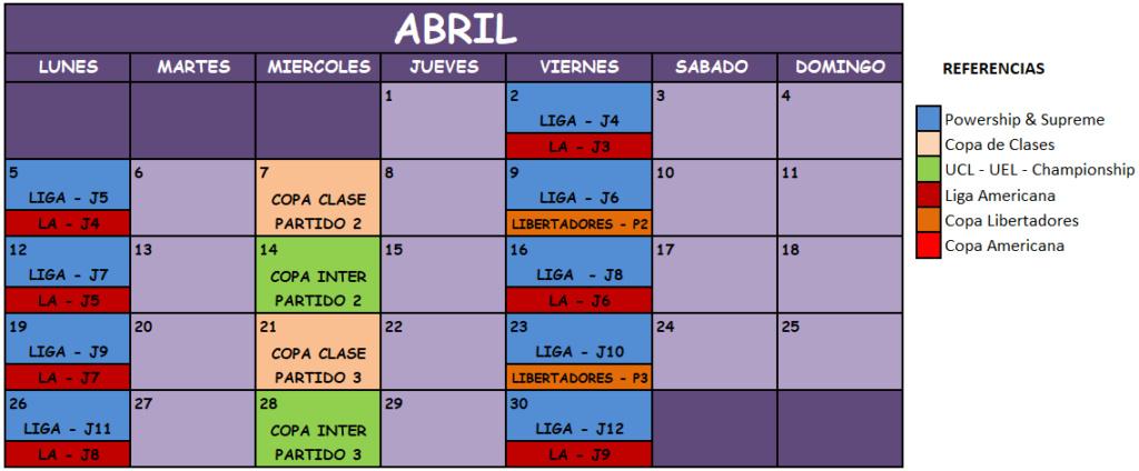 Liga Manager Virtual Abril14
