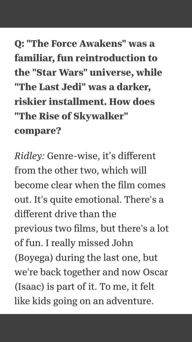 Episode IX: The Rise of Skywalker Press Tour & Interviews - Page 8 3ae9ef10