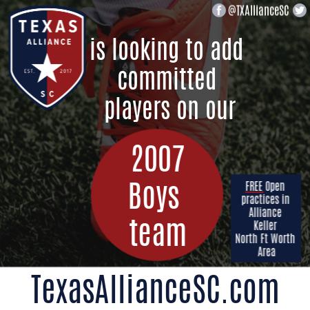 TX Alliance 2007 Boys *Roster Availability* - N FortWorth Adding15