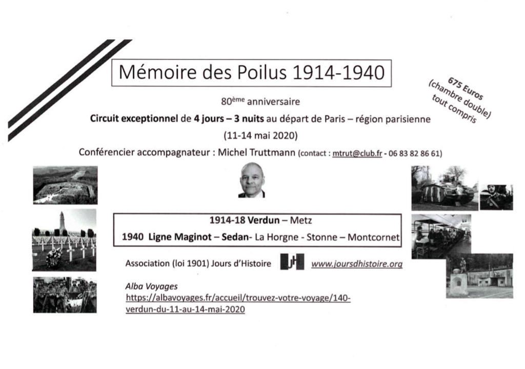"""Circuit """"La Mémoire des Poilus"""" - du 11 au 14 mai 1027"""