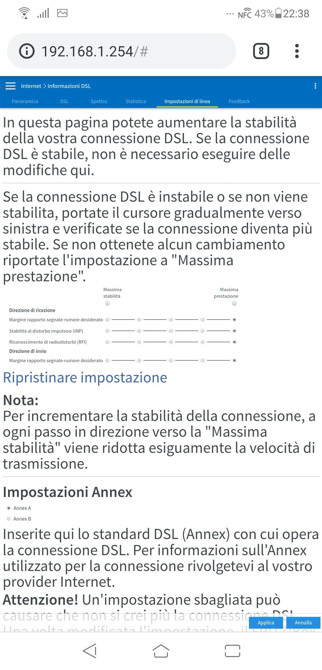 Timeout dell'autenticazione PPP con Tiscali Fttc Screen16