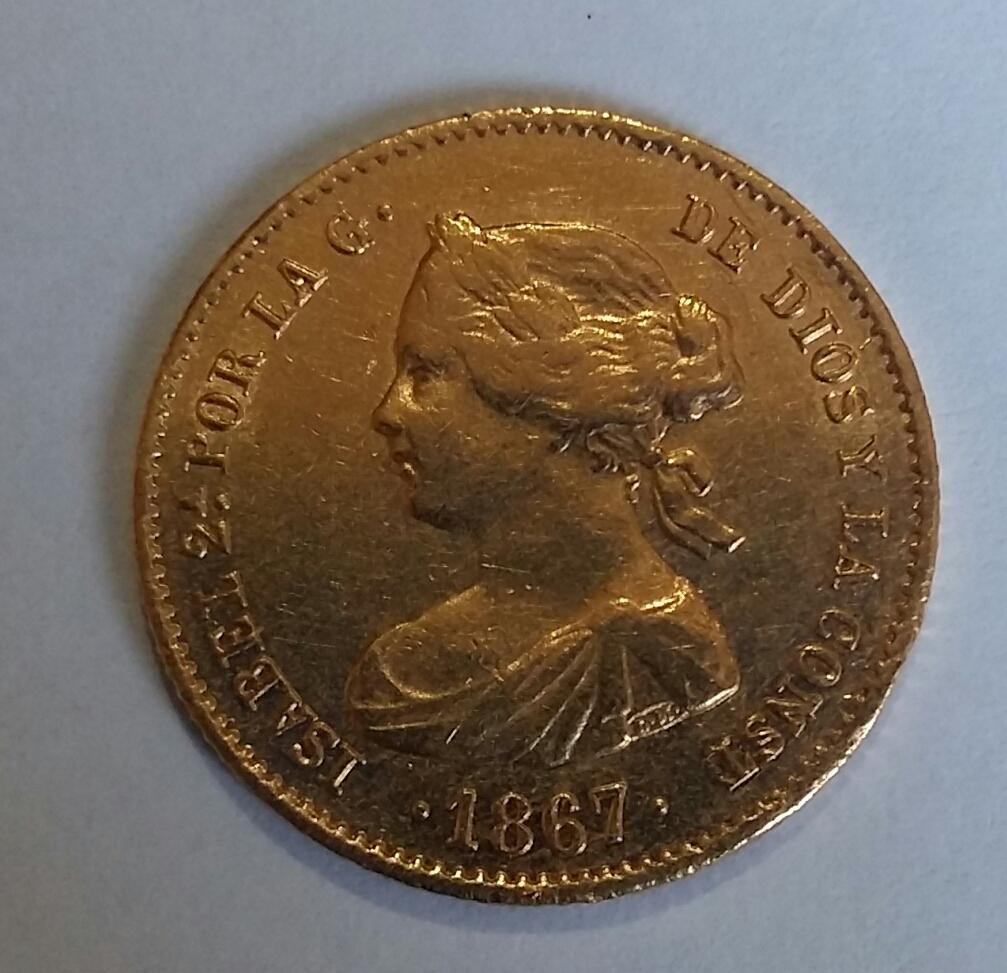 4 Escudos 1867. Isabel II. Madrid 20190910