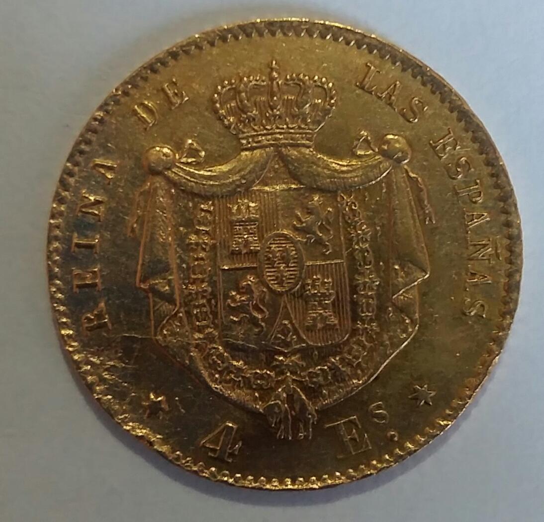4 Escudos 1867. Isabel II. Madrid 20190911