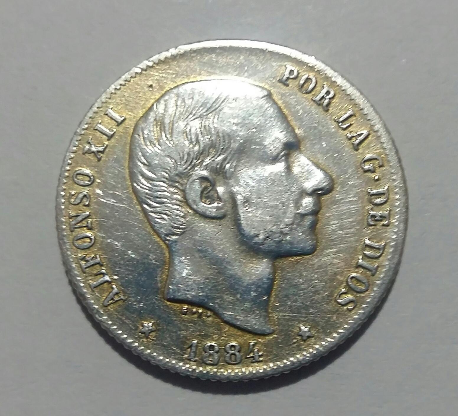 20 Centavos de Peso 1884. Alfonso XII. Manila 20190912