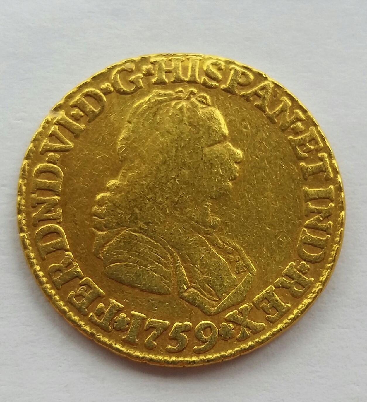 2 Escudos 1759 Santa Fe de Nuevo Reino J - Fernando VI 20191212