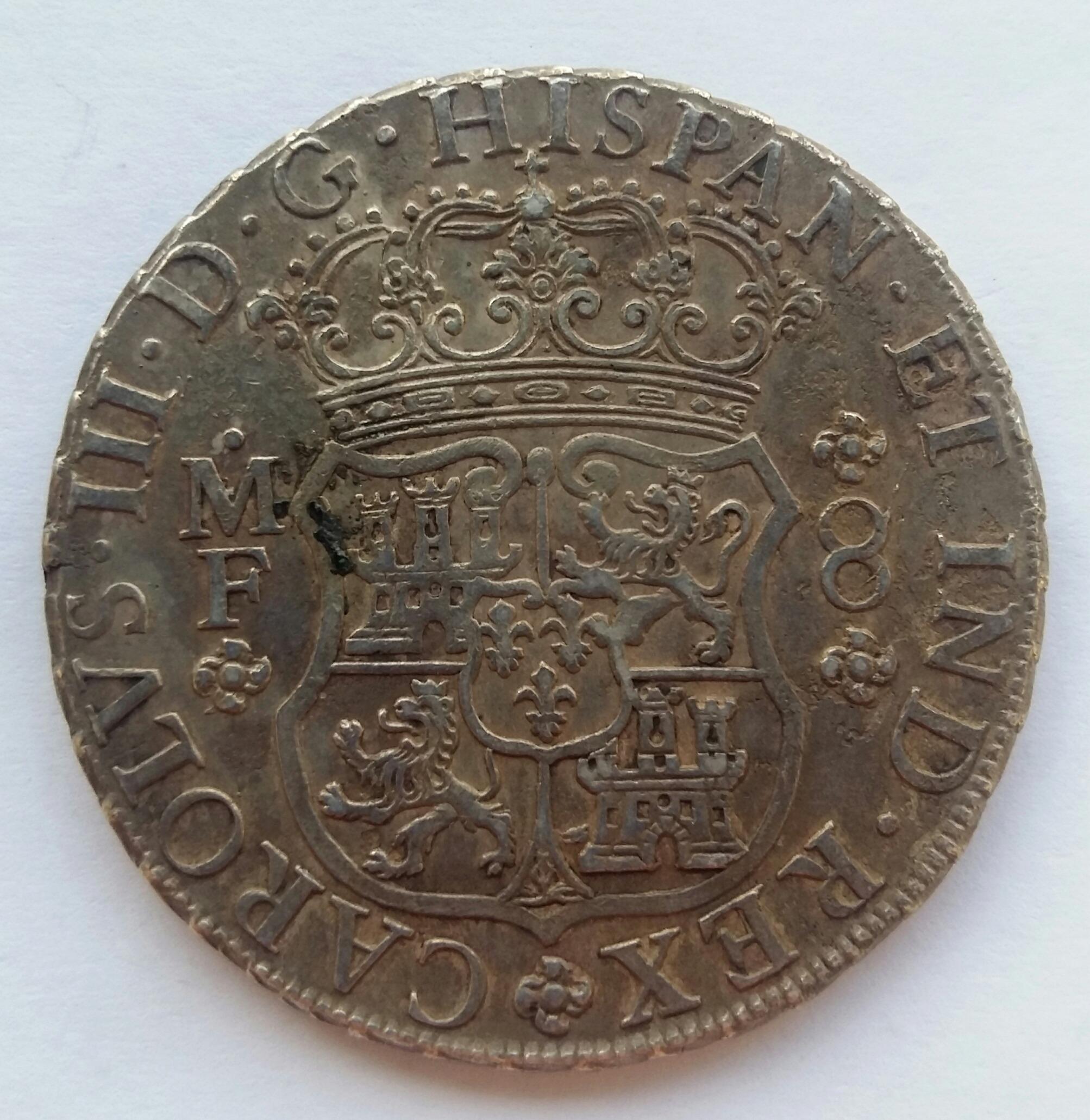 8 Reales 1766. Carlos III. Méjico MF 20200114