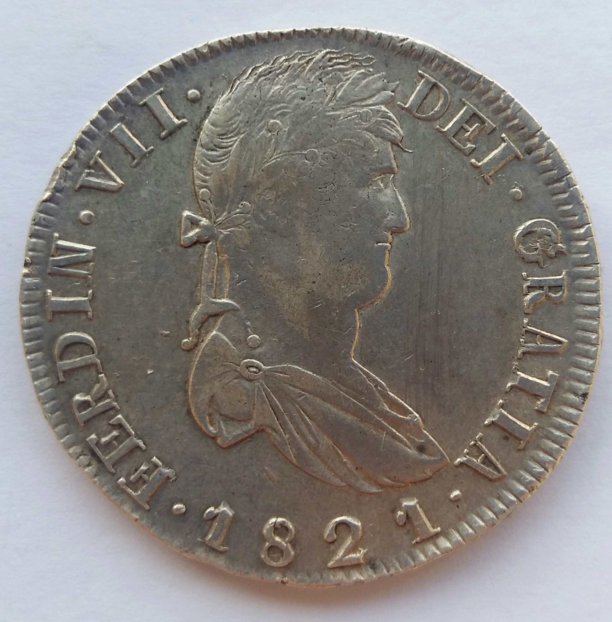 8 Reales 1821. Fernando VII. Zacatecas RG 20200128