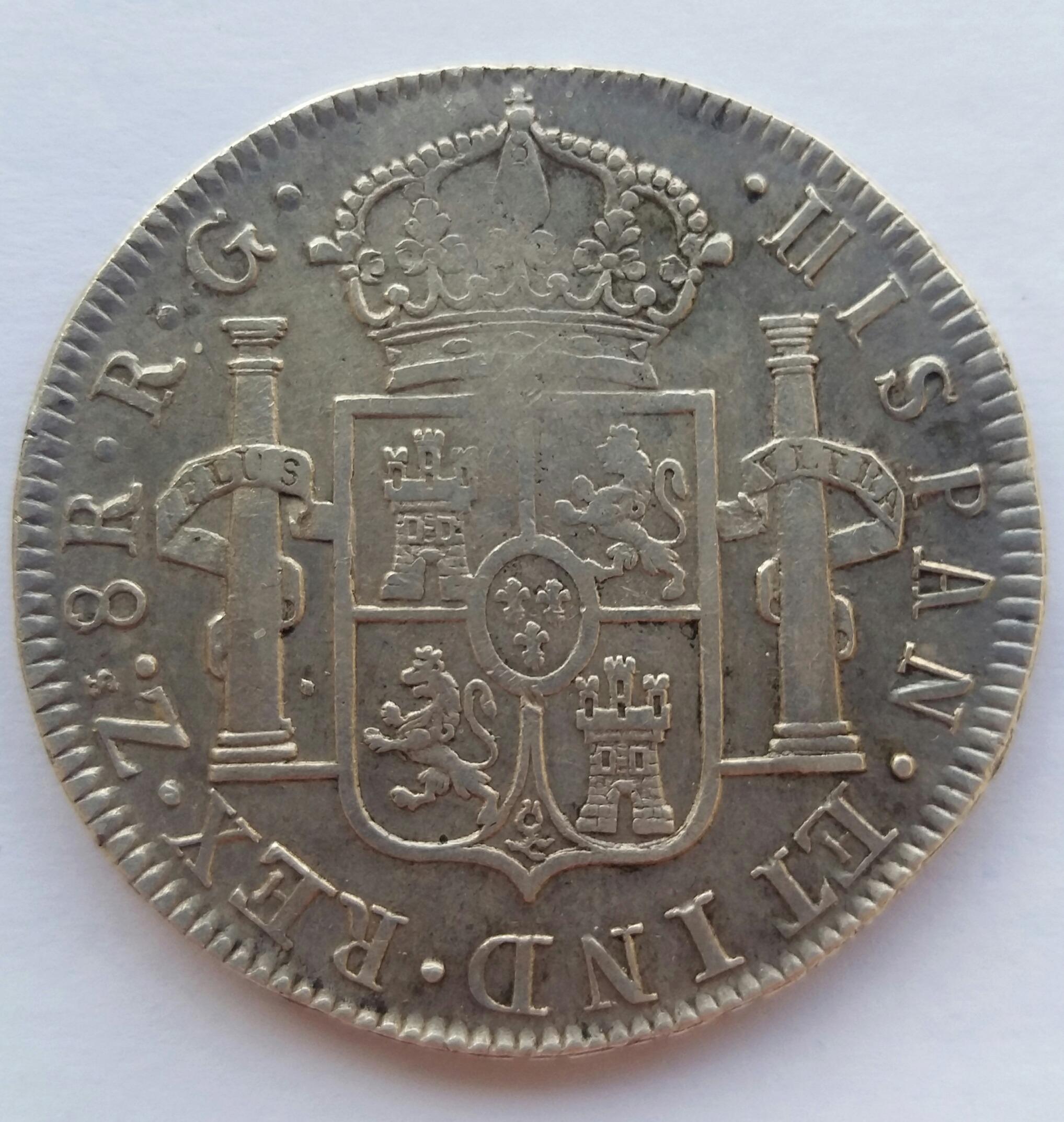 8 Reales 1821. Fernando VII. Zacatecas RG 20200129