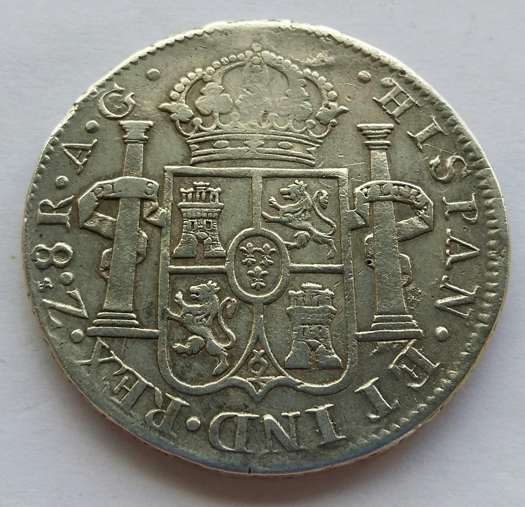 8 Reales 1820. Fernando VII. Zacatecas AG  20200515