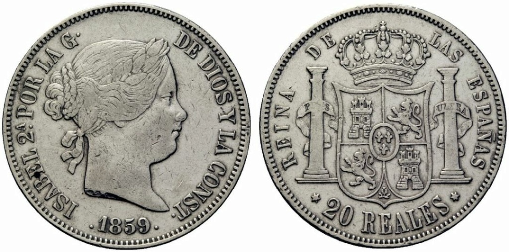20 reales Isabel II 1859. Fake 21770310
