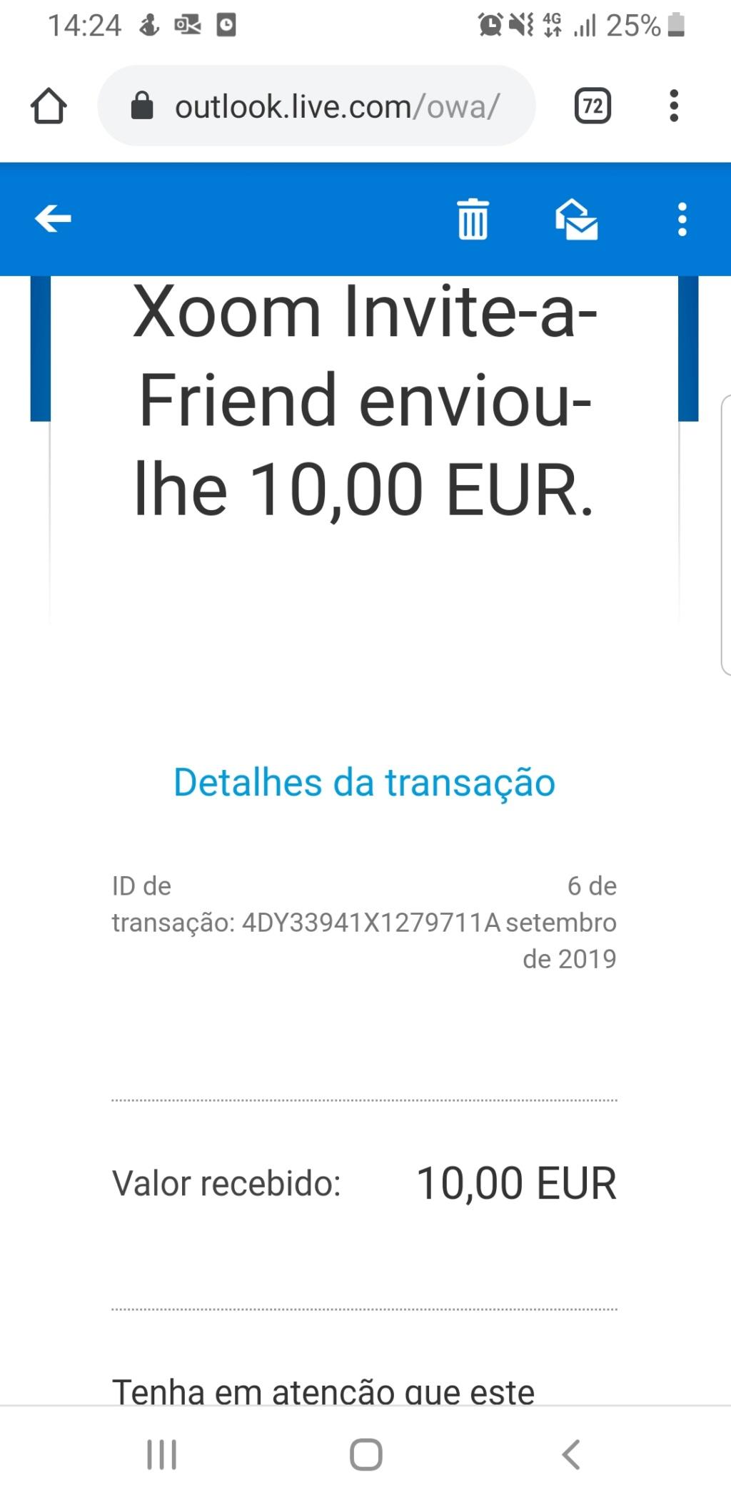 OPORTUNIDADE [Provado] - Ganha 25€ Paypal por registar na Xoom (empresaPaypal) Screen10