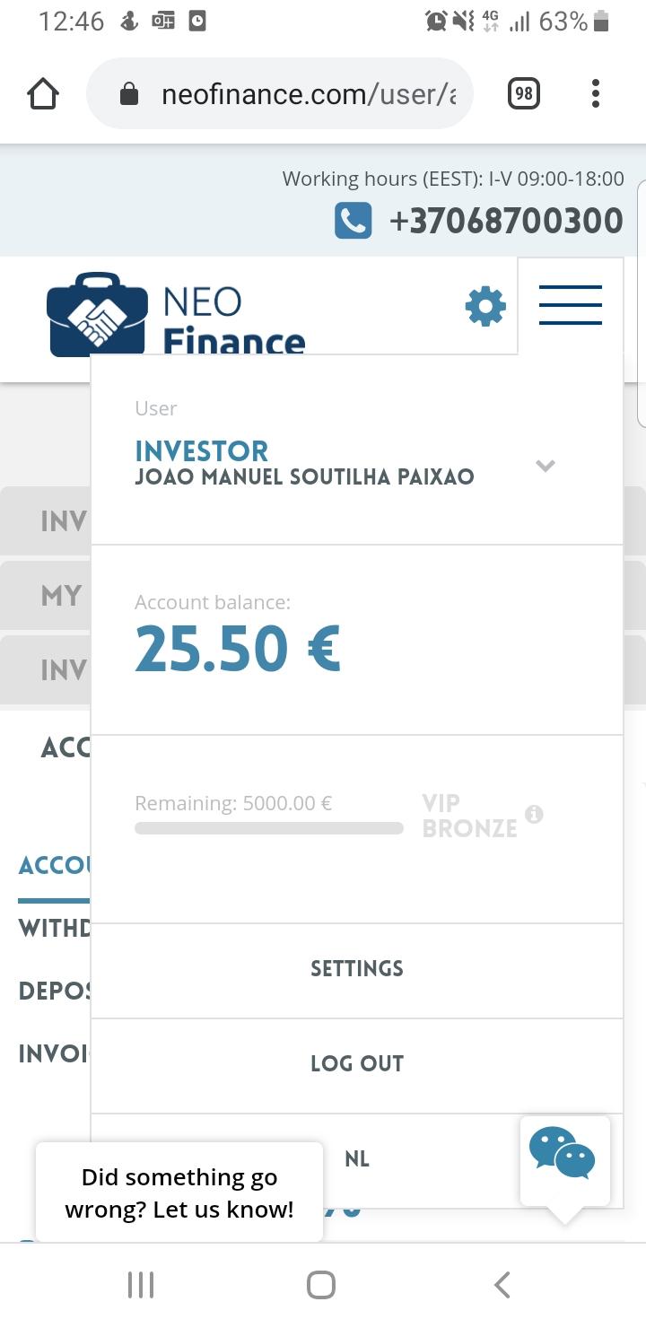 OPORTUNIDADE[TESTAR] - GANHE 20@ por investir 1centimo com a NEOFINANCE Screen14