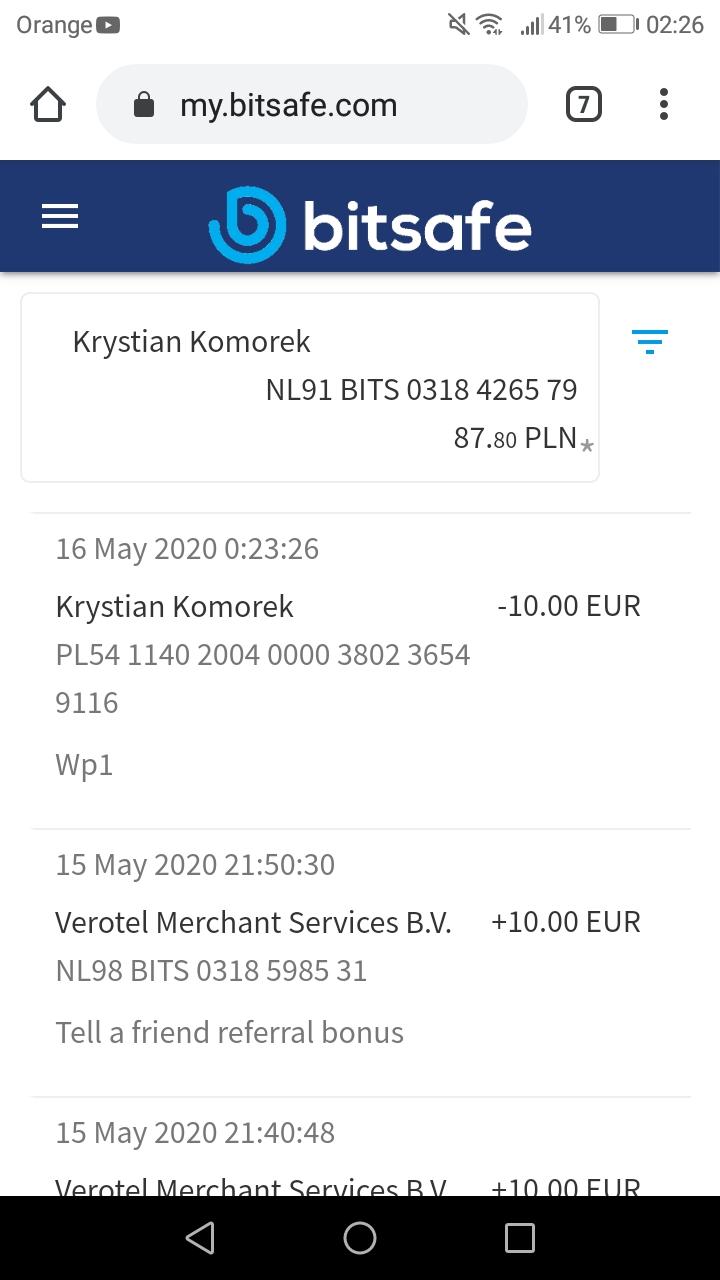 Bitsafe (konto internetowe) - 10eur za rejestrację i polecenie - do sprawdzenia Screen20