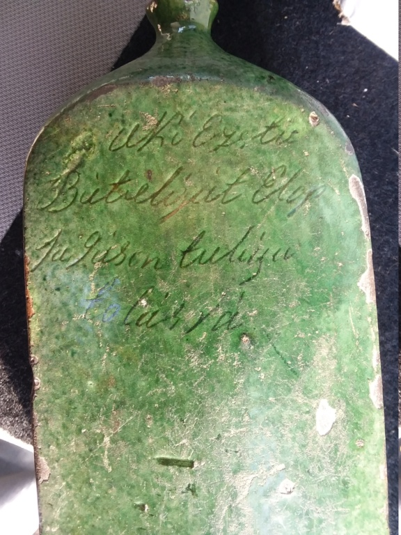 Pottery flask/bottle with inscription and green glaze, Hungarian  20210113