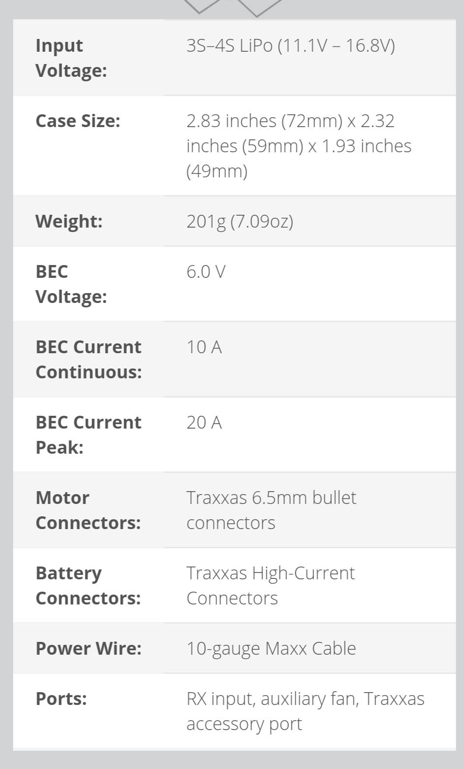Info spec complètes ESC VXL 4S  Screen10