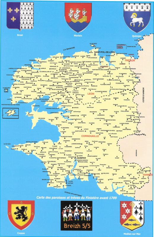 Carte des paroisses et trêves du Finistère avant 1789 1-paro10