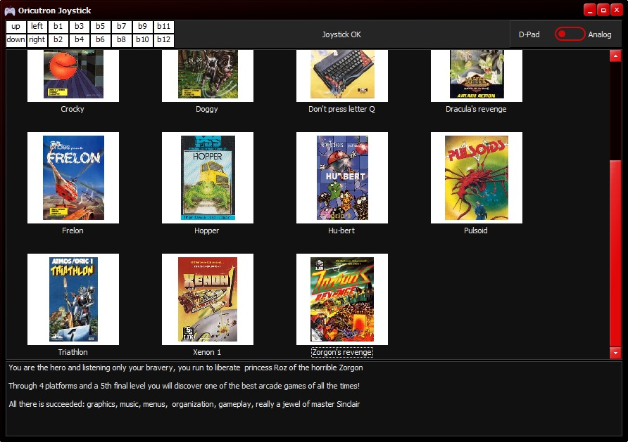 OricJoy : un frontend pour oricutron, avec support joystick/gamepad Screen10