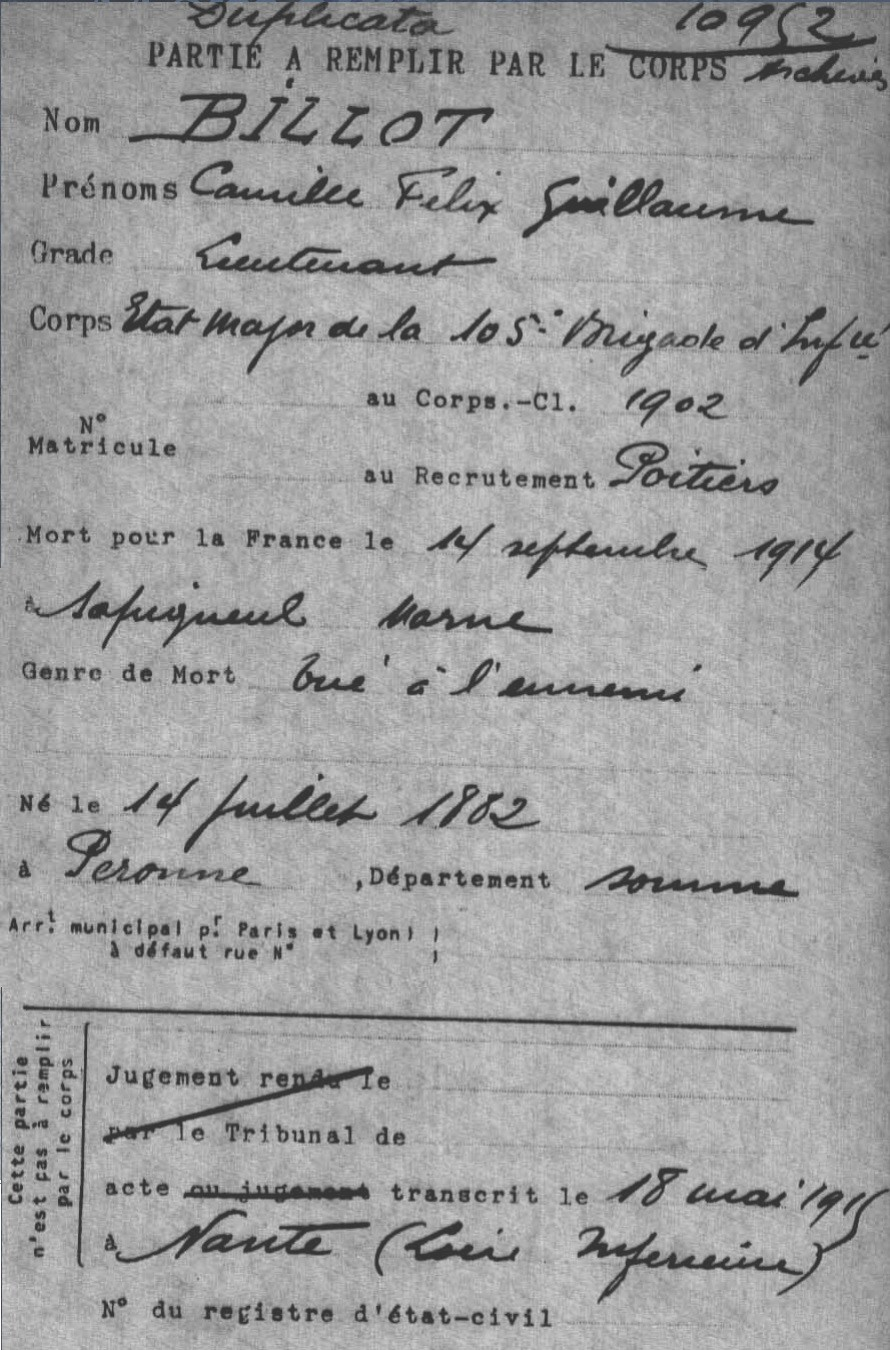 Lieutenant BILLOT Camille Félix Guillaume (+14/07/1914) Fiche_10