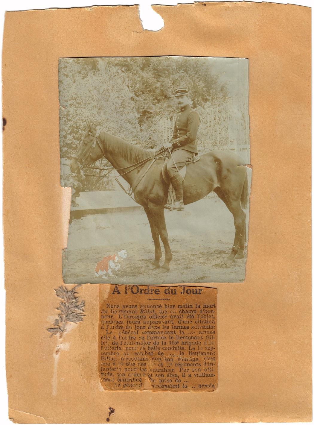Lieutenant BILLOT Camille Félix Guillaume (+14/07/1914) Grand-11