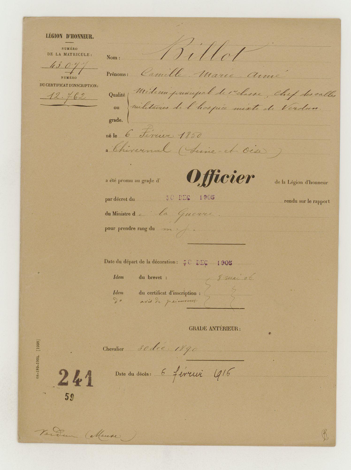 Lieutenant BILLOT Camille Félix Guillaume (+14/07/1914) Lh-bil10