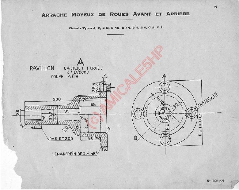"Outillage Citroën 5HP Arrache Moyeux  &   Ecrou de roue a Rotule 30192 "" ( 1er modele ) 3911"