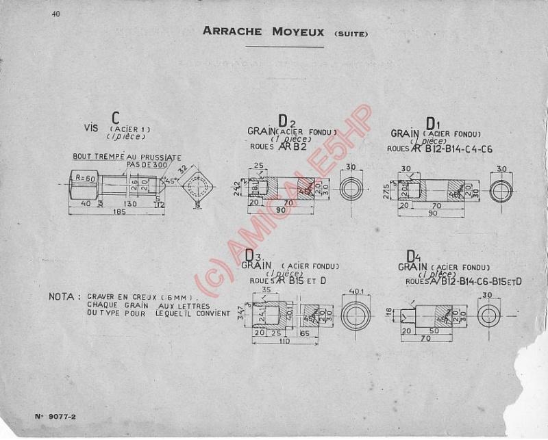 "Outillage Citroën 5HP Arrache Moyeux  &   Ecrou de roue a Rotule 30192 "" ( 1er modele ) 4011"
