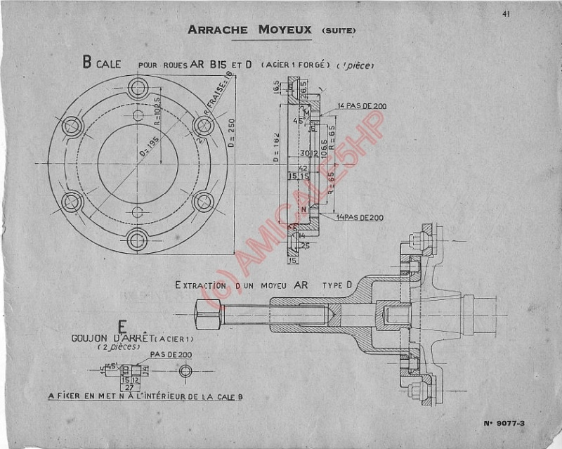 "Outillage Citroën 5HP Arrache Moyeux  &   Ecrou de roue a Rotule 30192 "" ( 1er modele ) 4111"