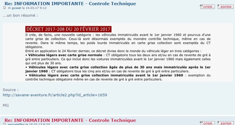 INFORMATION IMPORTANTE - Controle Technique - Page 3 Carteg10