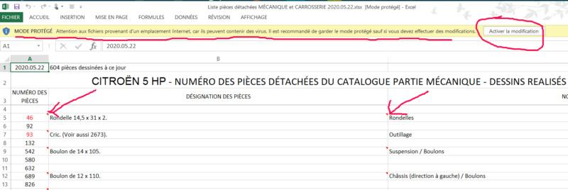 Tableau Excel des pièces détachées Ph Burnier Iklood10